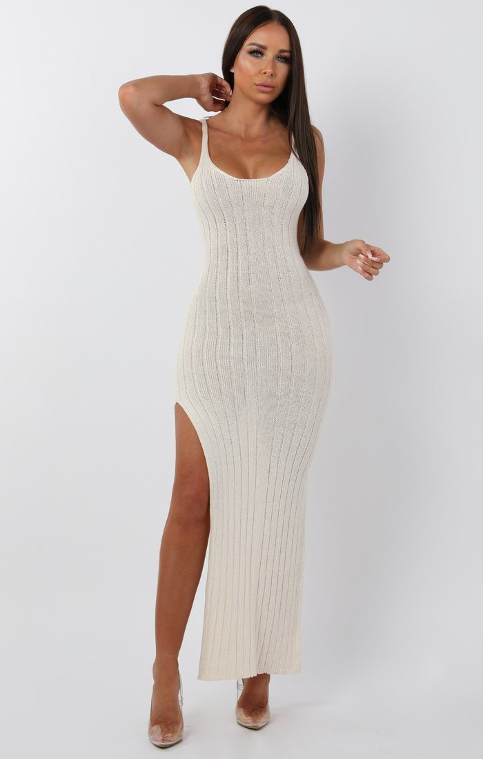 457cb5790aed Cream Cami Knitted Side Split Maxi Dress | Maxi Dresses | Femme Luxe ...