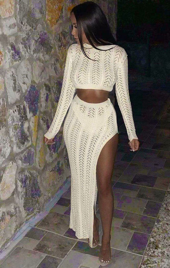 Cream Crochet Long Sleeve Crop Top - Natasha sale FemmeLuxe