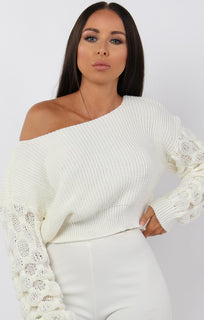 Cream Ribbed Bobble Stitch Knitted Jumper - Maisie
