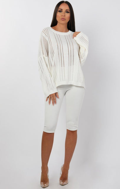 Cream Fine Knit Oversized Jumper - Sophie