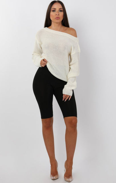 Cream Knitted Off Shoulder Jumper - Maria
