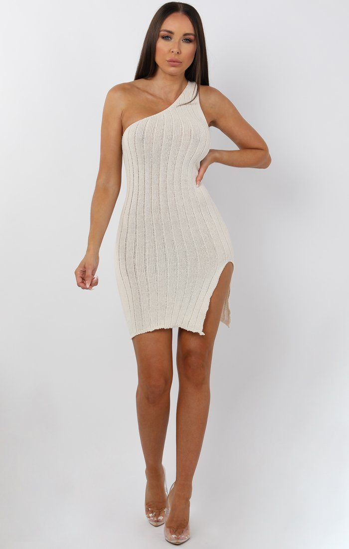 Cream Knitted One Shoulder Midi Dress - Sorcha sale FemmeLuxe