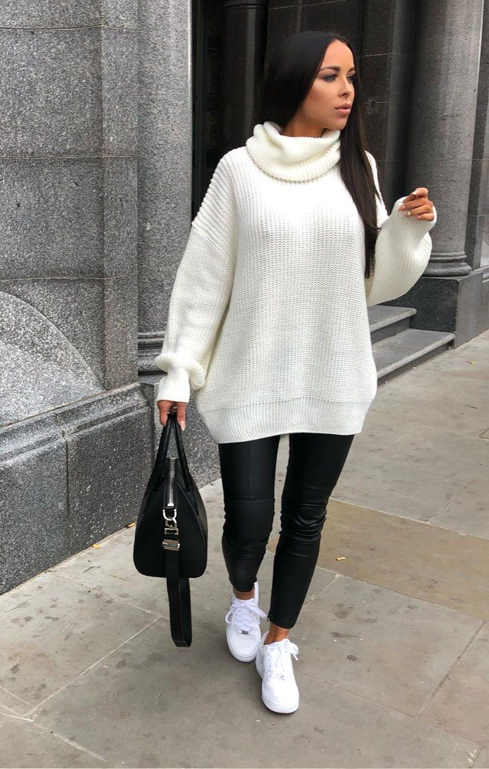 736af66c58 Cream Knitted Oversized Polo Neck Jumper - Polly