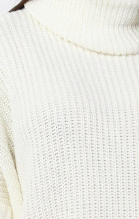 Cream Knitted Oversized Polo Neck Jumper - Polly