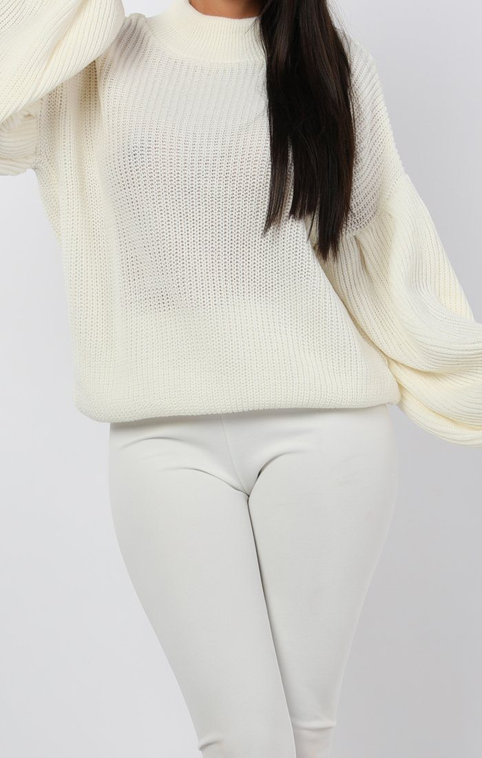 Cream Oversized Bloom Sleeve Knitted Jumper - Roisin