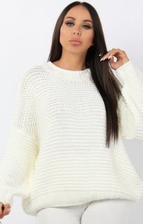 Cream Oversized Chunky Knit Jumper - Claire