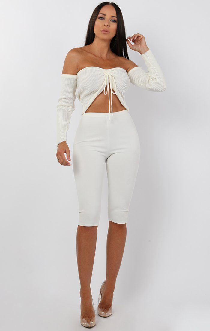 Cream Ribbed Bardot Ruched Front Crop Top - Lea sale FemmeLuxe