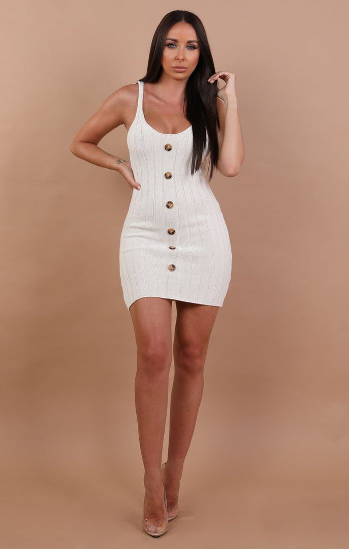 Cream Ribbed Knit Button Detail Mini Dress - Kerry sale FemmeLuxe