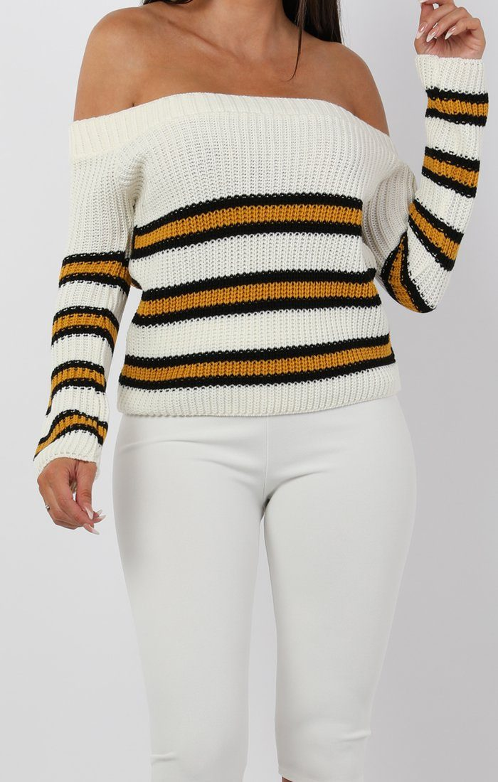 Cream Striped Bardot Knitted Jumper - Sheena