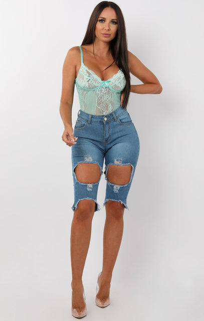 Dark Blue Distressed Jean Shorts - Zara
