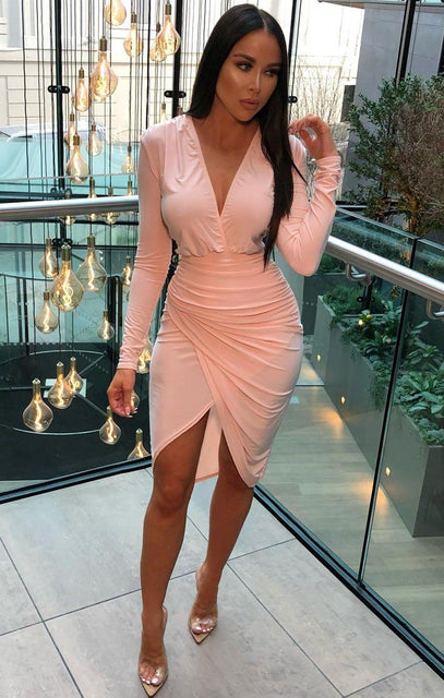 Dusky Pink Long Sleeve Slinky Wrap Midi Dress - Amelie