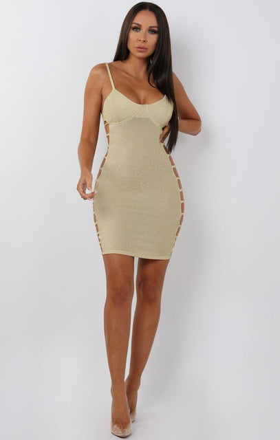 Gold Cami Side Cut Mini Dress - Catriona