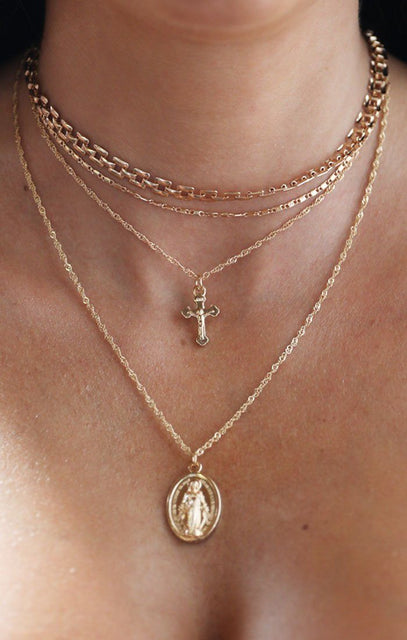 Gold Layered Renaissance Crucifix Chocker Necklace - Carragh