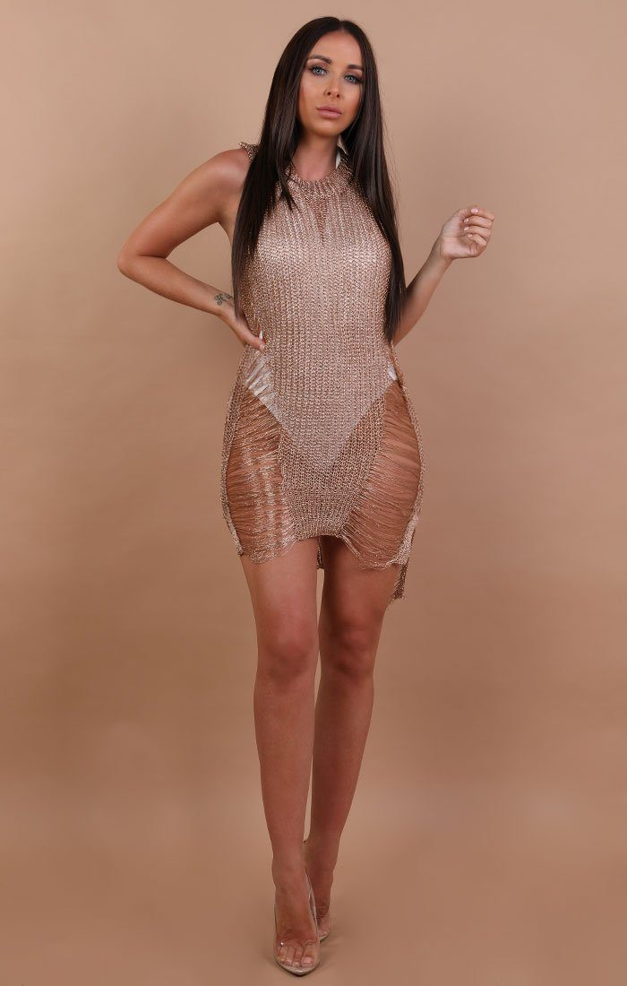 Gold-Metallic-Distressed-Ripped-Knitted-Dress
