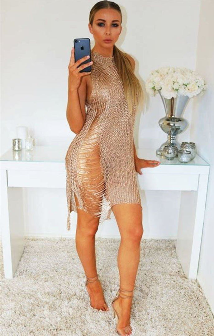 72aee4edfe Gold Metallic Distressed Ripped Knitted Dress