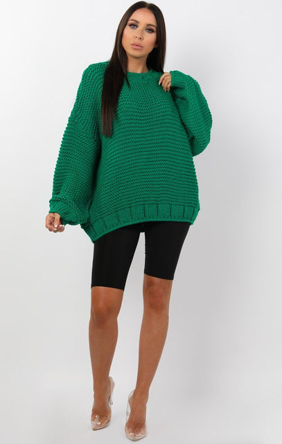 Green Oversized Chunky Knit Jumper - Claire
