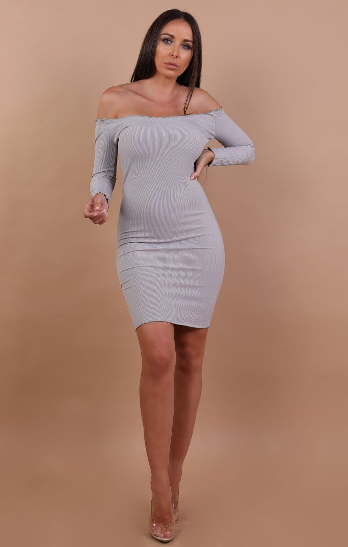 Grey Bardot Frill Midi Dress - Fiona