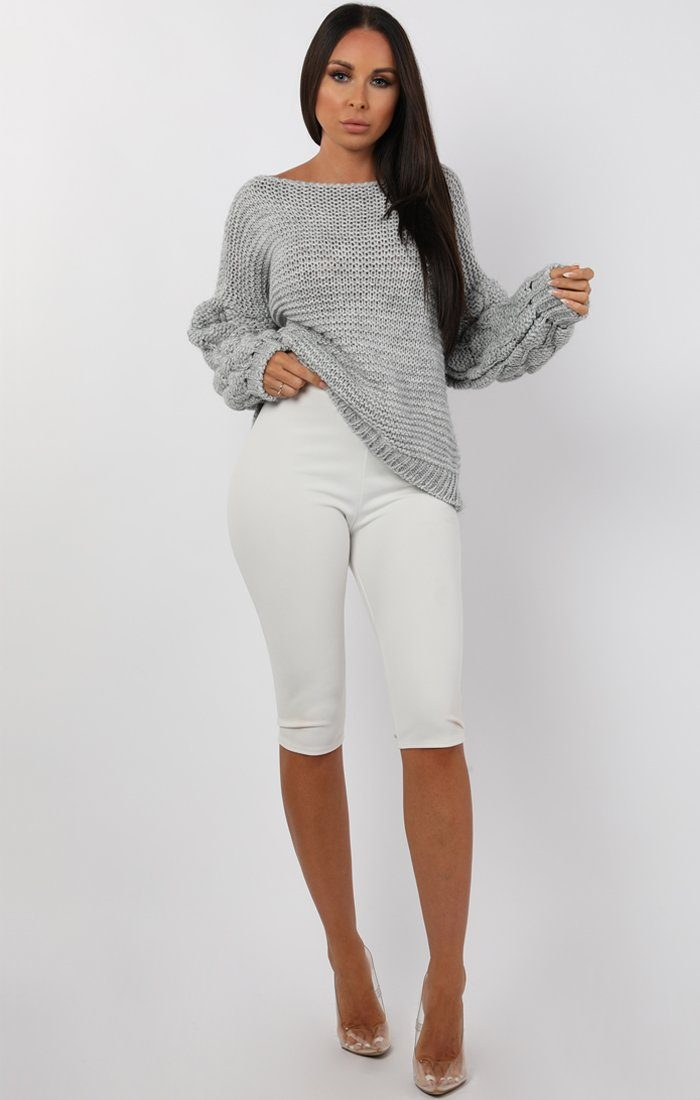Grey Bobble Stitch Knitted Jumper - Sandy