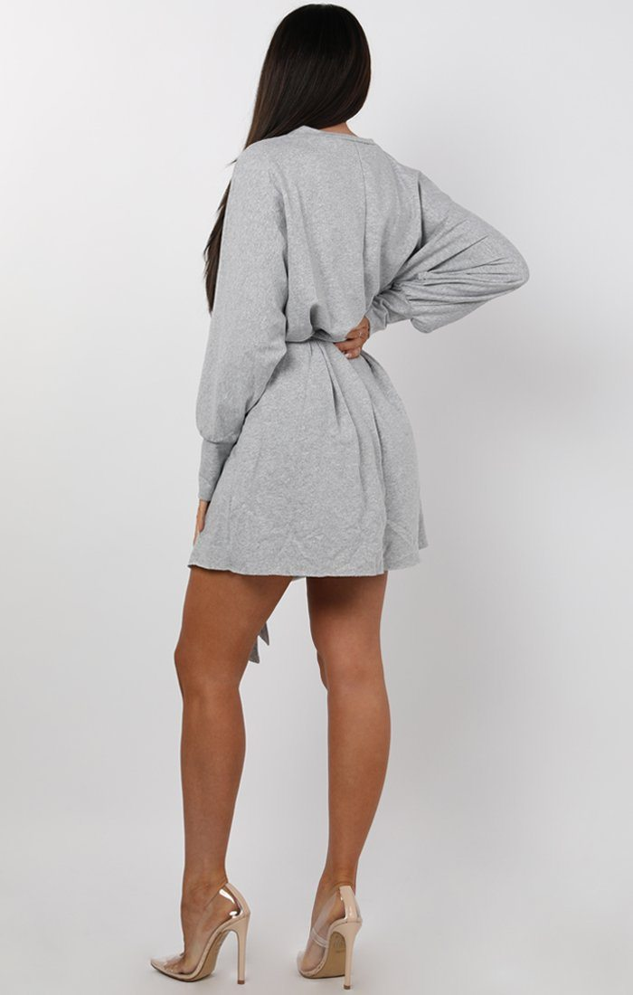 Grey Cold Shoulder Cut Out Jersey Dress - Laura