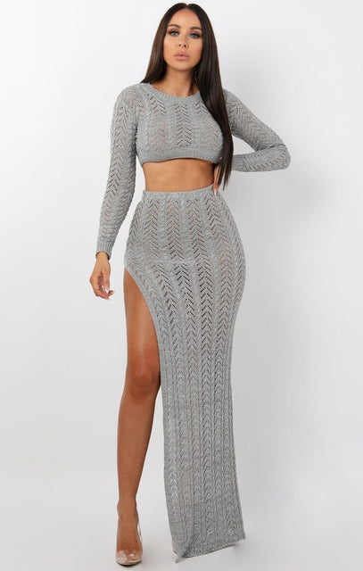 Grey Crochet Split Leg Maxi High Waist Skirt - Robin