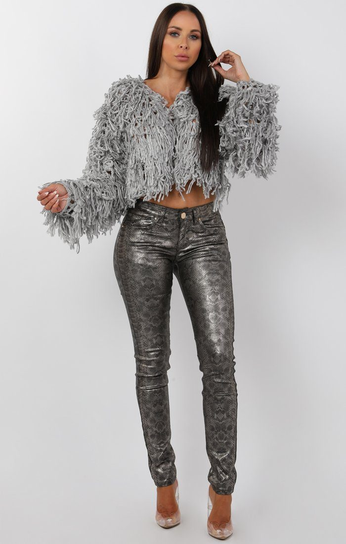 Grey Cropped Shaggy Jacket - Avril