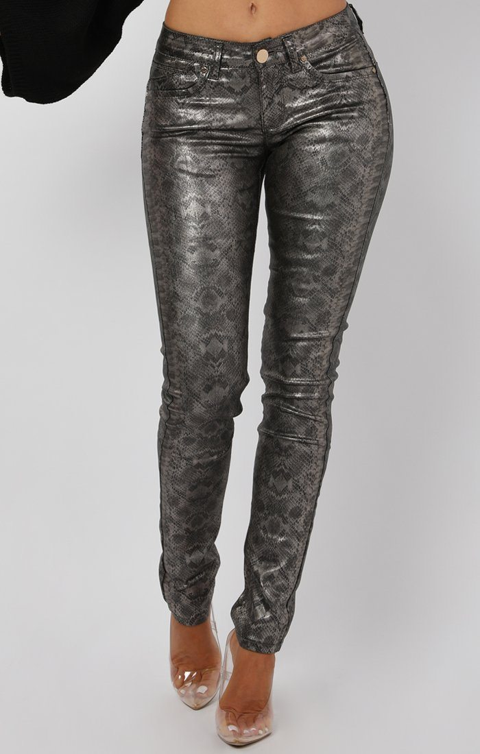 Grey Faux Leather Animal Snake Print Jeans - Sammie