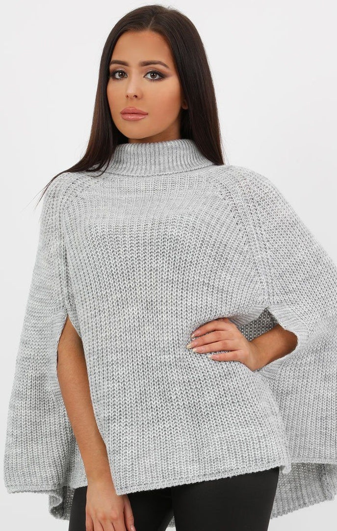 Grey High Neck Batwing Knit Jumper - Gemma