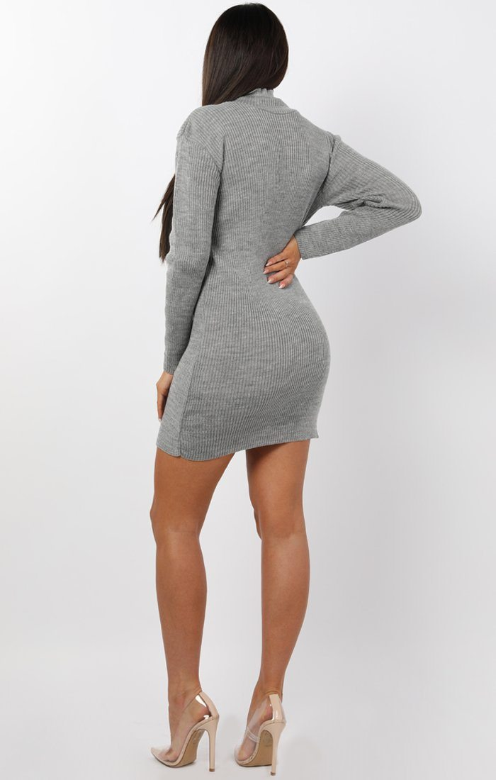 Grey High Neck Bodycon Jumper Dress - Esmelia