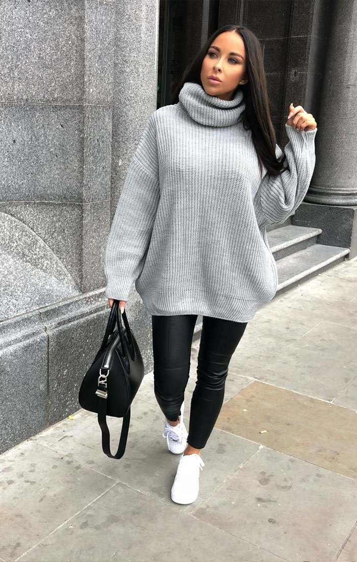 0976713c2864d9 Grey Knitted Oversized Polo Neck Jumper - Polly