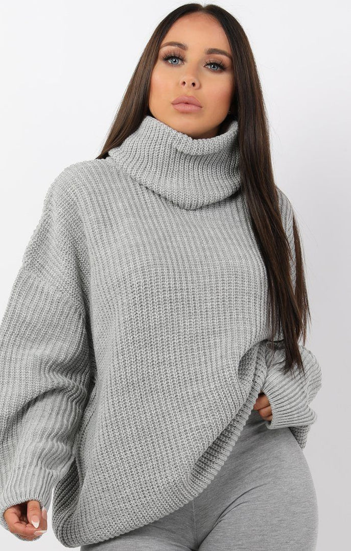 Grey Knitted Oversized Polo Neck Jumper - Polly