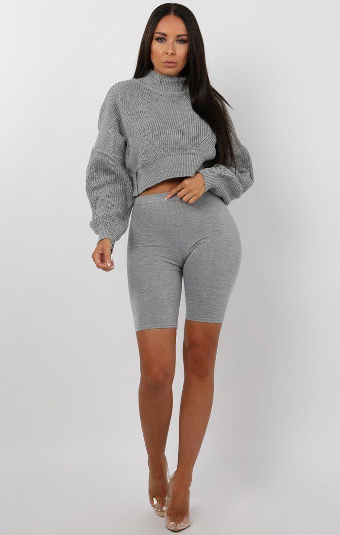 Grey Loose Fit Crop Knitted Jumper - Eden