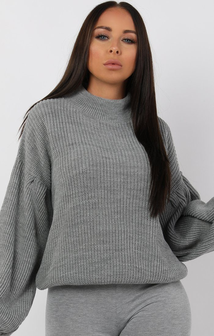 Grey Oversized Bloom Sleeve Knitted Jumper - Roisin