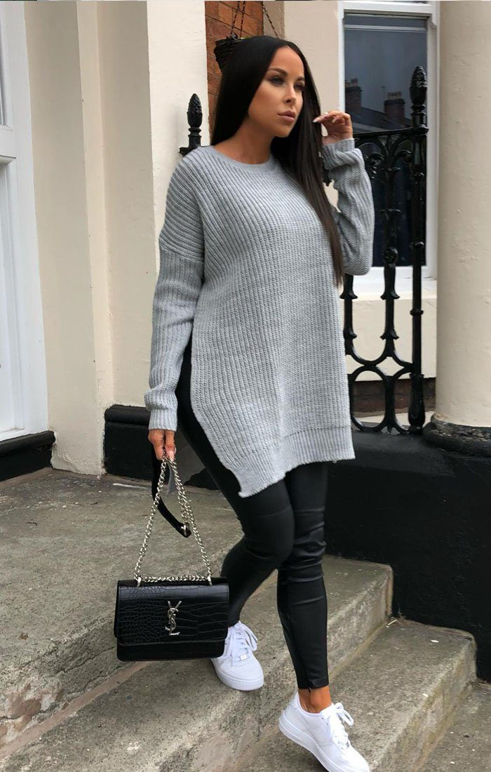 Grey Oversized Split Side Knitted Jumper - Lore