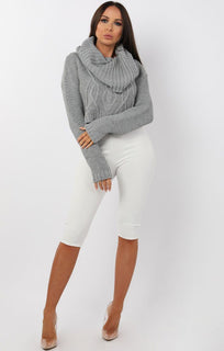 Grey Polo Neck Cable Knit Cropped Jumper - Juniper