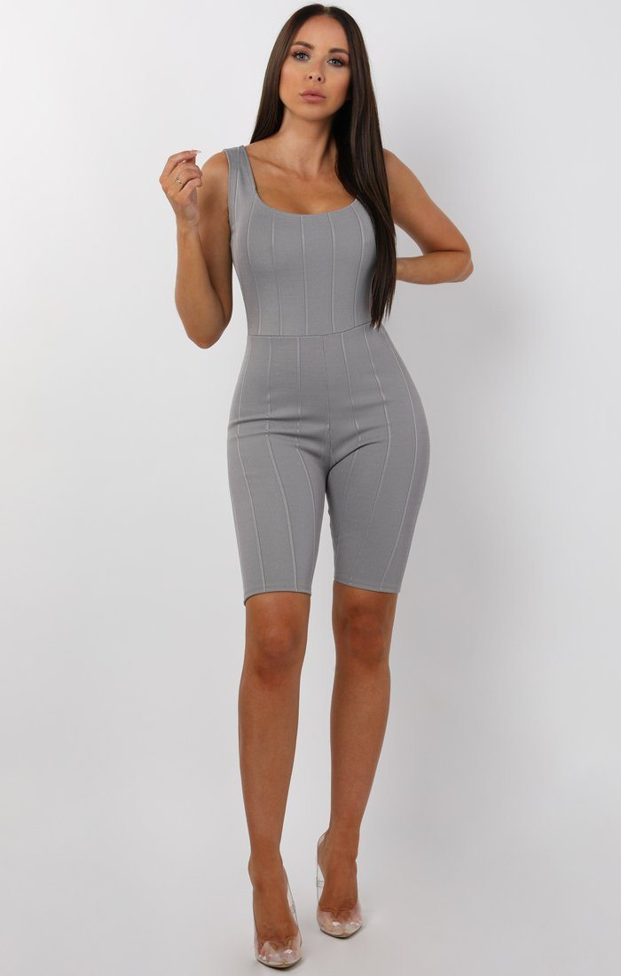 Grey Wide Ribbed Playsuit - Farrah