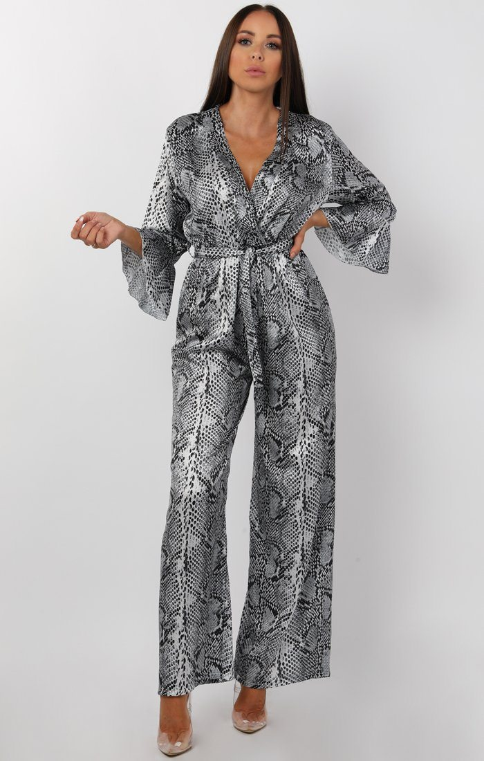 Grey Animal Snake Long Sleeve Belted Jumpsuit - Kelsey