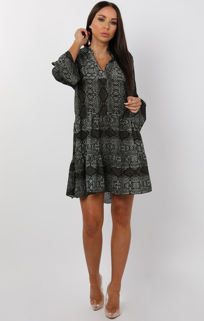 Khaki Animal Snake Print Frill Tea Dress - Emily