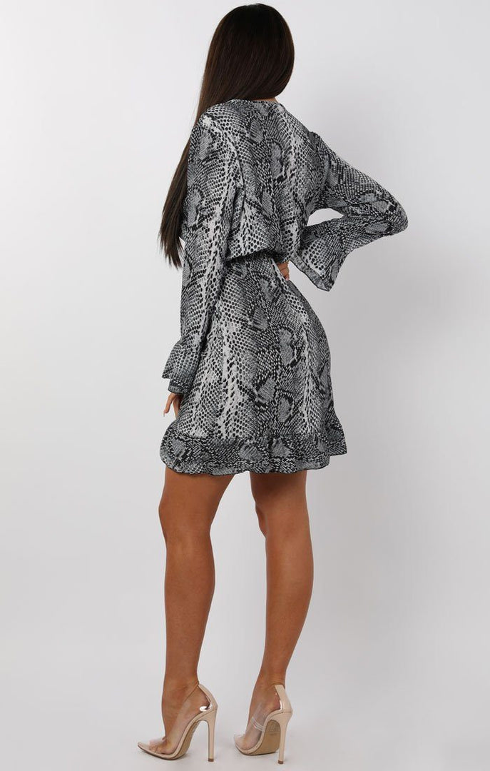 Grey Animal Snake Print Frill Wrap Tea Dress - Tasha