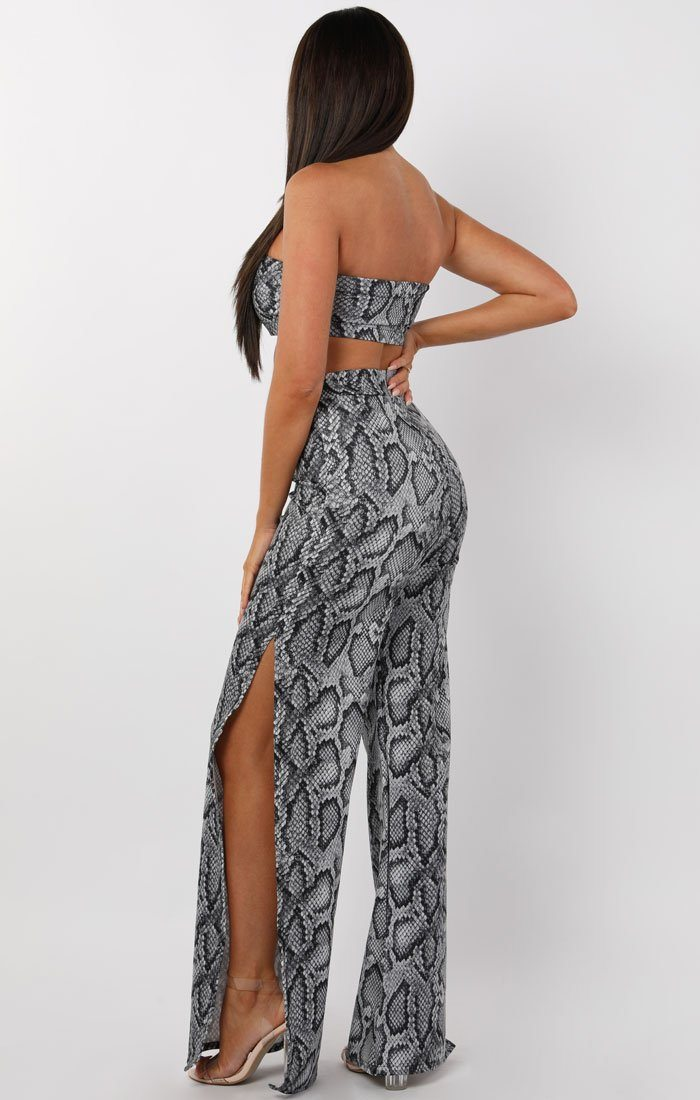 Grey Animal Snake Print Split Leg Two Piece Co-ord Set - Marisol