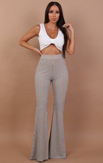 Striped Bell Bottom Trousers - Aisha