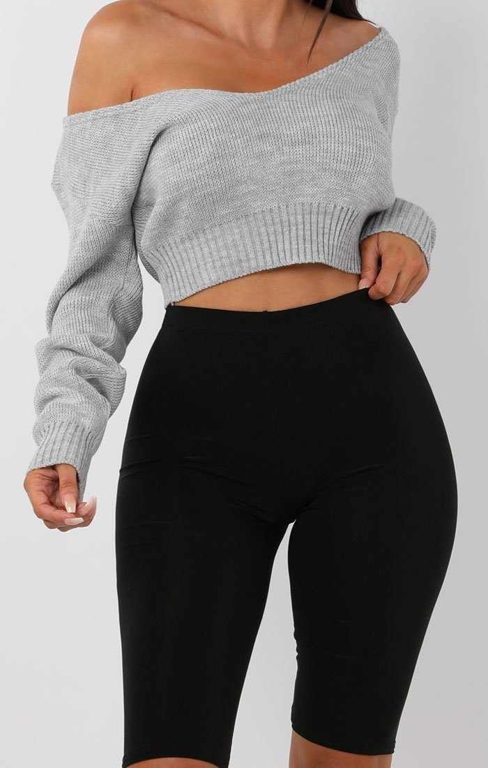 Grey V-Neck Cropped Jumper - Cordelia