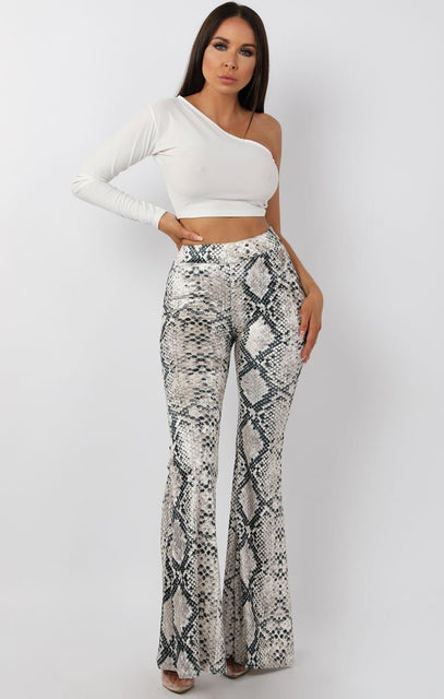 Grey Velvet Animal Snake Print Flared Trousers - Olivia