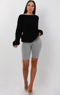 Grey cropped basic leggings - Roxanne