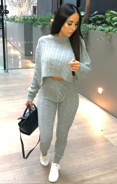 Grey Cable Knit Loungewear Set - Robina