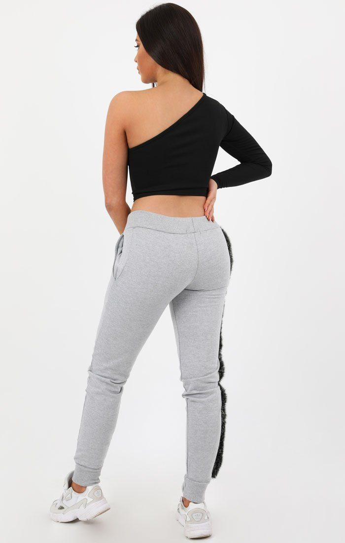 Grey Fur Striped Joggers - Lisette