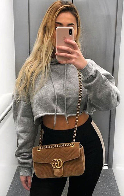 Grey Hooded Crop Sweater Jumper - Gia