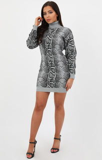 Grey Snake Print High Neck Jumper Dress - Aimee