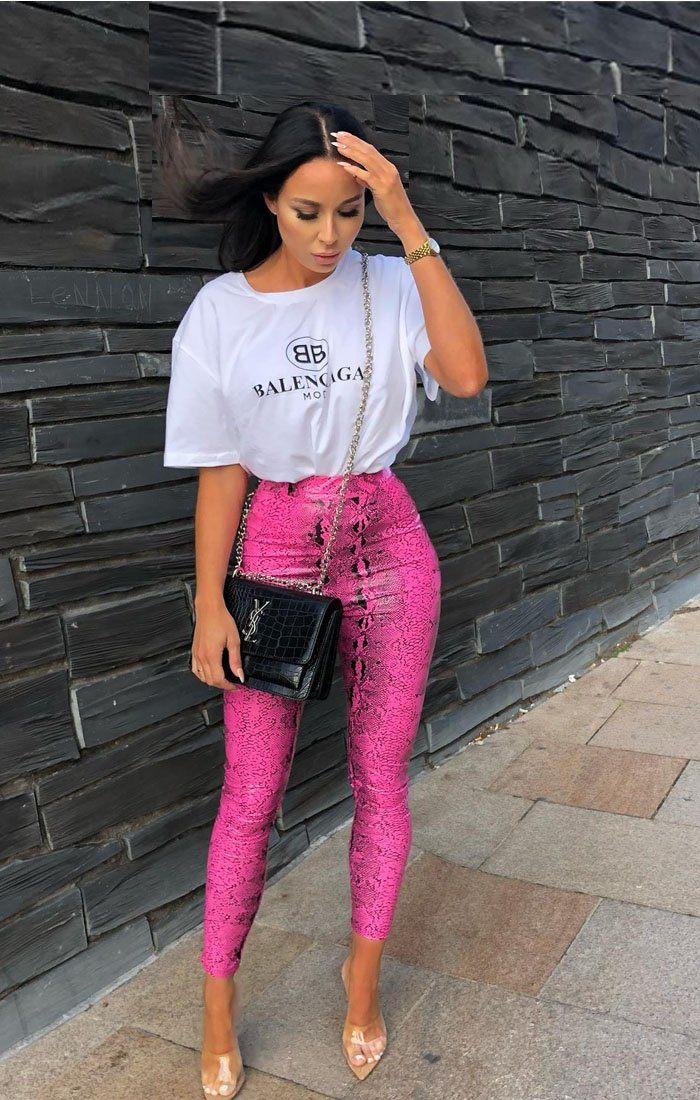 Hot-Pink-Snake-Print-PU-Leggings-Stevi
