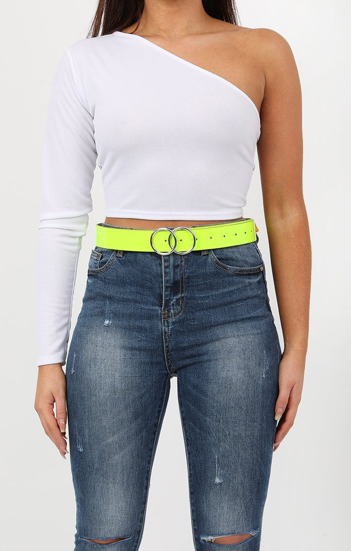 Neon Lime Double Circle Buckle Belt - Melissa