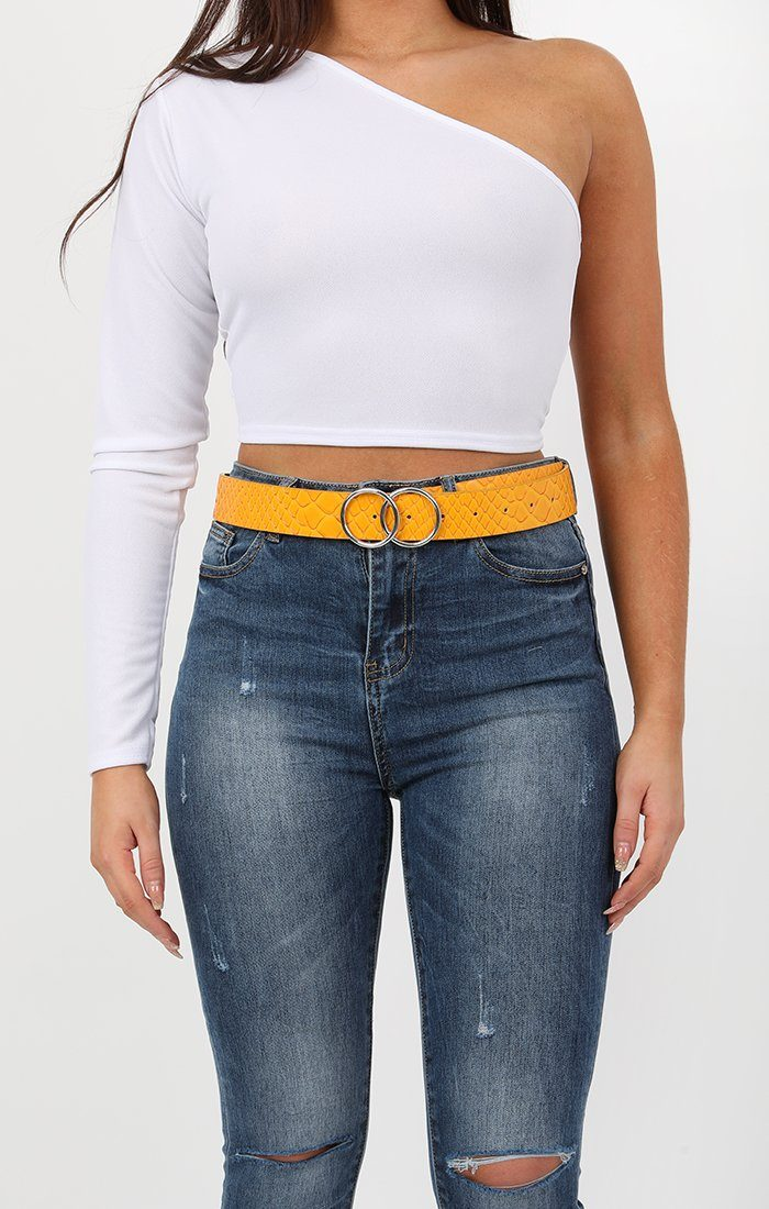 Yellow Animal Snake Print Double Circle Buckle Belt - Melissa